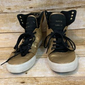 Supra gold high top sneakers shoes size 6